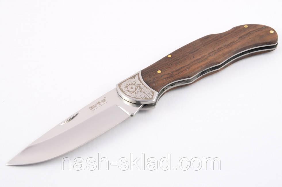 Нож  складной классического плана, с рукоятью из дерева полисандра