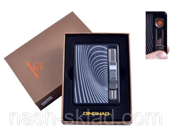 """Портсигар на 10 сигарет + USB зажигалка с выбросом сигарет """"Абстракция"""", фото 2"""