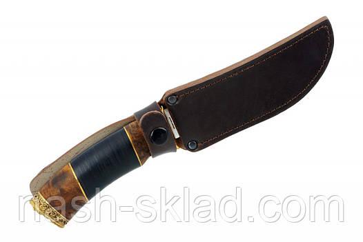 Нож охотничий Медведь рукоять кожа, дерево КАП, ручная работа, кожаный чехол в комплекте, фото 2