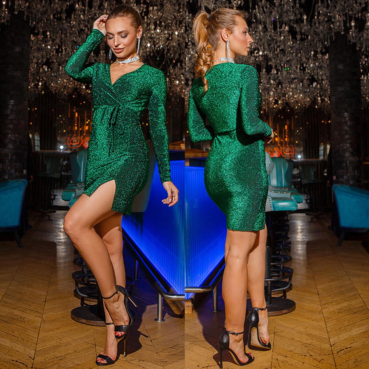 """Новогоднее короткое платье блестящее изумрудное """"LUXIO"""""""