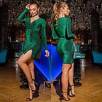"""Новогоднее короткое платье блестящее изумрудное """"LUXIO"""", фото 1"""
