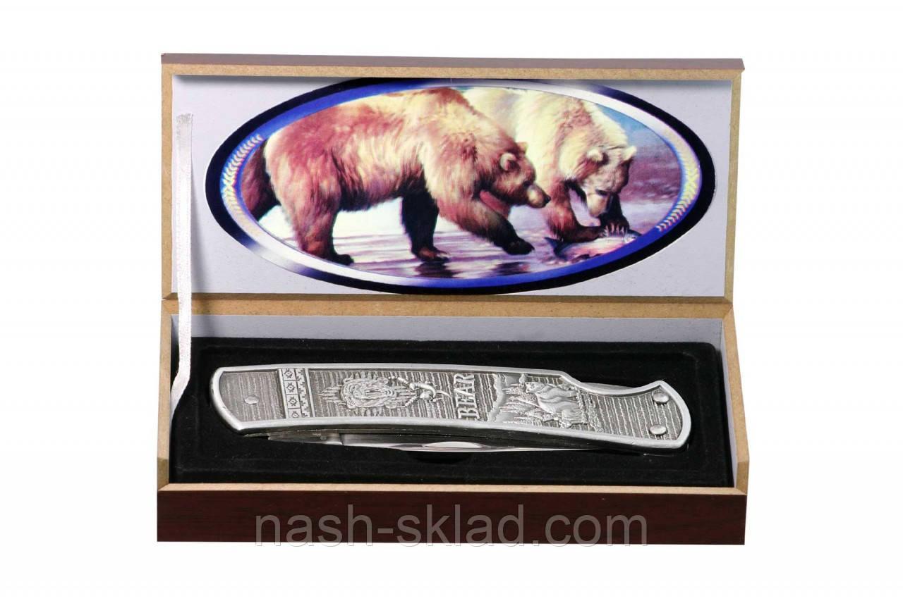 Ніж складаний Ведмідь подарунковий, доступна ціна, надійність + подарункова коробка