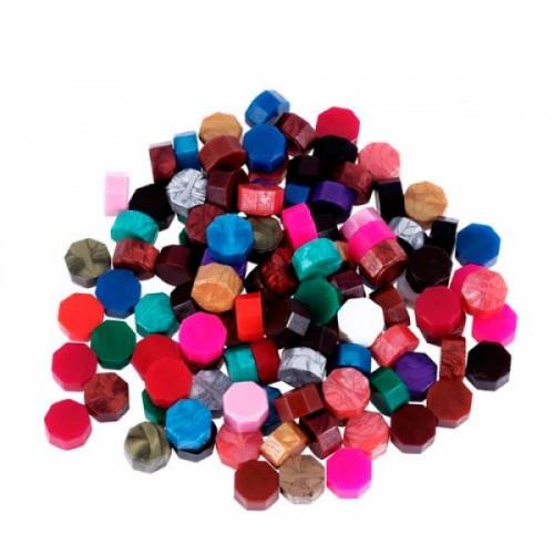 Воск для сургучной печати, сургуч таблетка 8.5х5мм, разноцветный, 50г, 105168