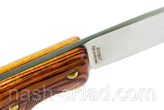 Скандинавський ніж для полювання та риболовлі, потужний з червоного дерева, шкіряний чохол в комплекті, фото 2