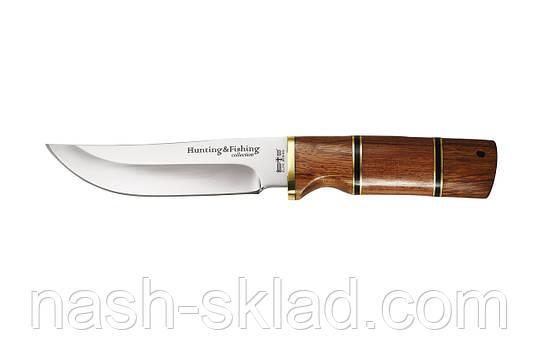 Мисливський ніж, рукоять червоне дерево, сталь 440С гарна твердість, фото 2