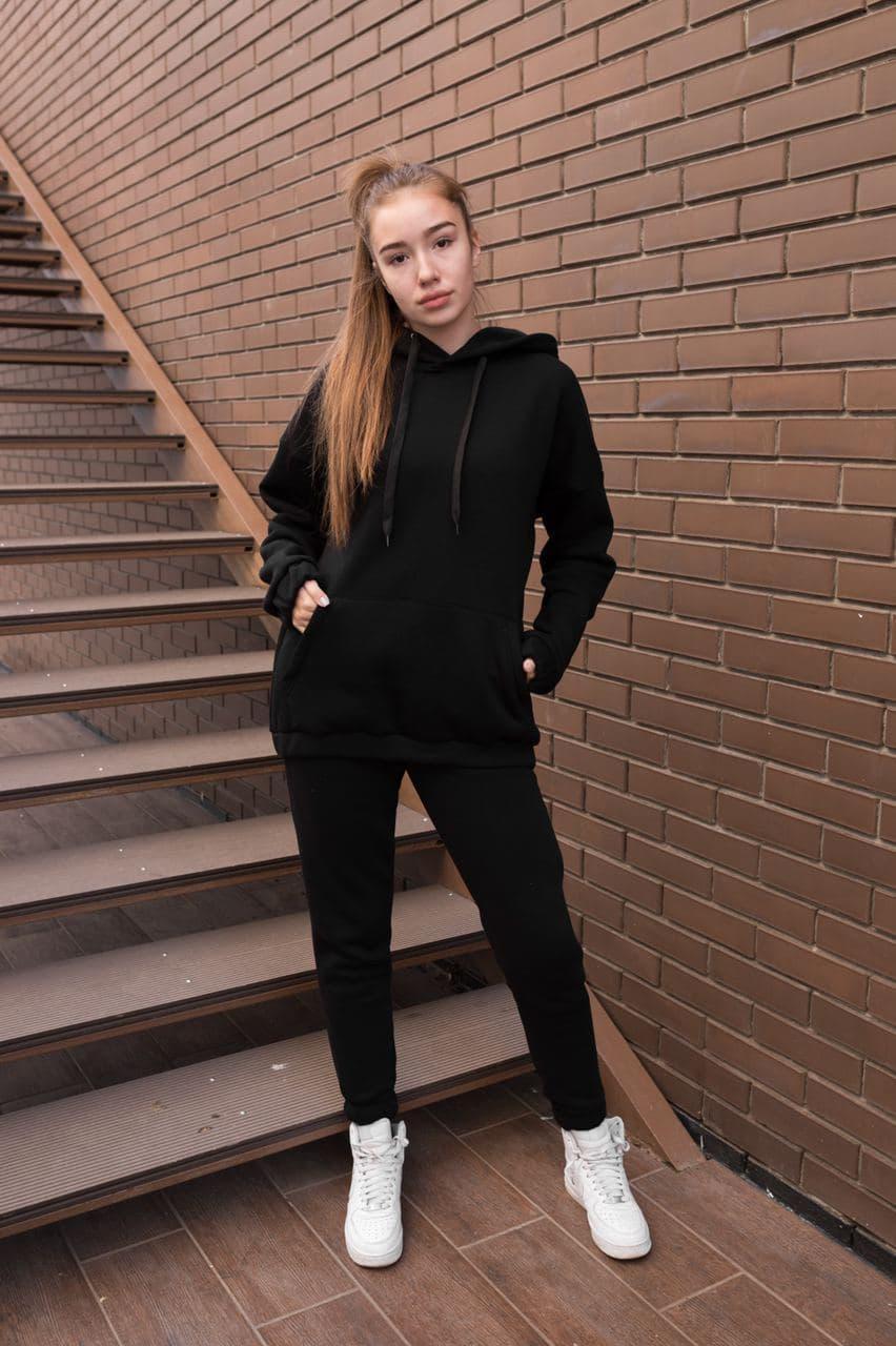 Утепленный спортивный костюм женский оверсайз черный