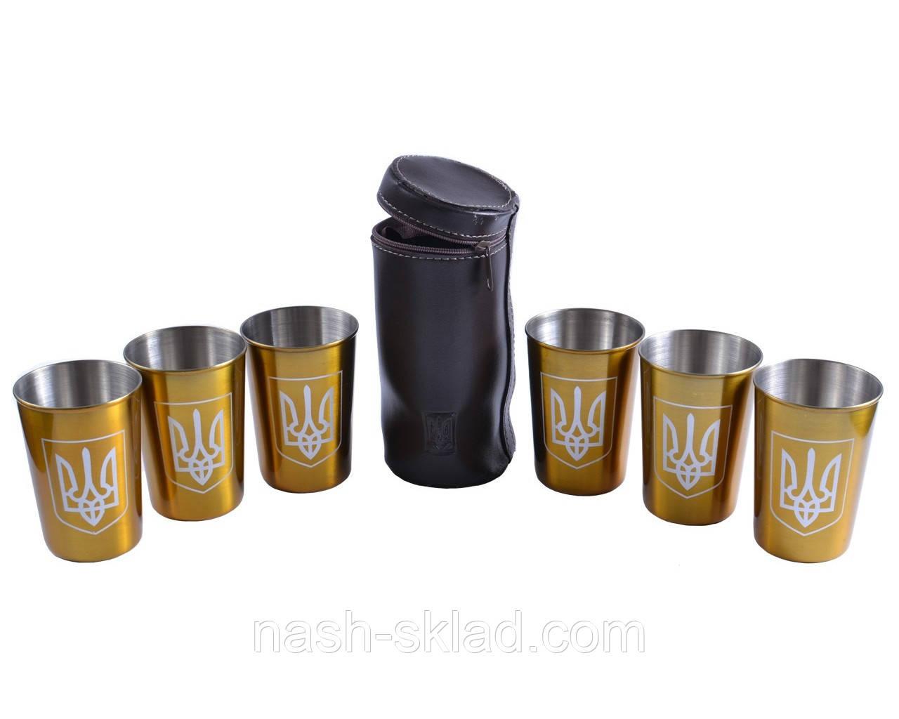 Рюмки золотые из нержавеющей стали в кожаном чехле Украина, 6 шт