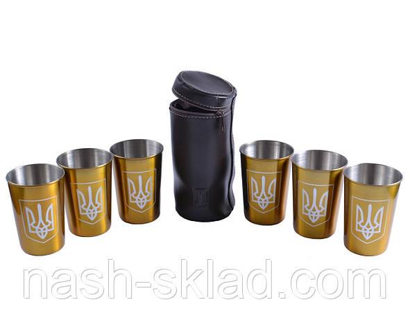 Рюмки золотые из нержавеющей стали в кожаном чехле Украина, 6 шт, фото 2