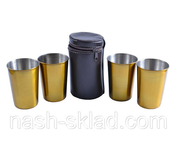 Рюмки золотые из нержавеющей стали в кожаном чехле, 4шт, фото 2