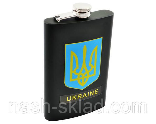 Фляга черная из пищевой нержавеющей стали Украина, фото 2