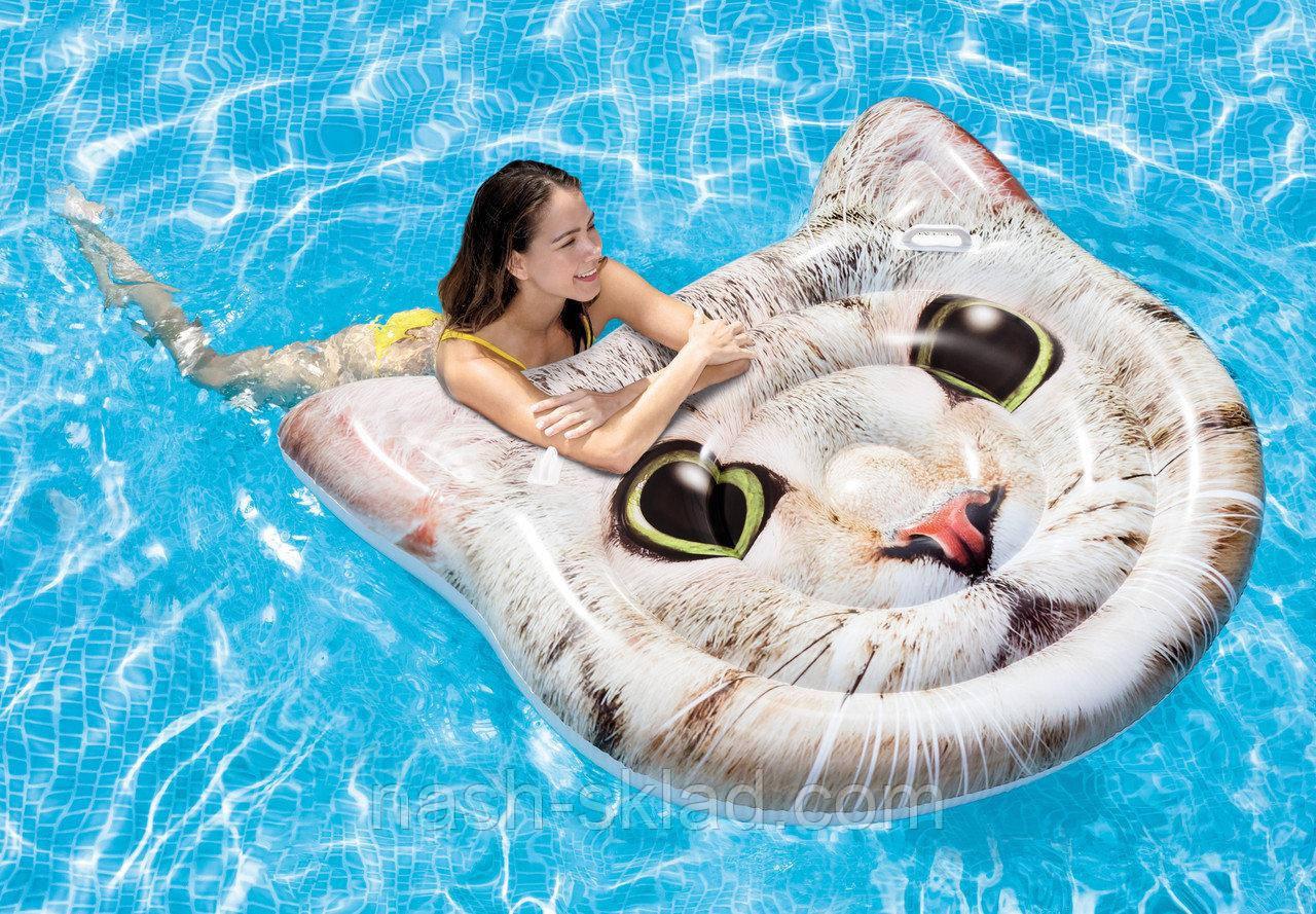Матрас надувной Котик, плотик для плаванья, подарок для девушки