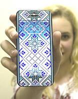 Виниловая наклейка для iPhone 4/4s Синяя вышиванка + заставка
