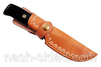 Нож охотничий из дамасской стали Бурый Медведь, ручная работа, кожаный чехол в комплекте, упор под палец, фото 2
