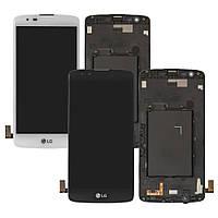 Дисплей для LG K8 K350E, модуль в сборе (экран и сенсор), с рамкой, оригинал