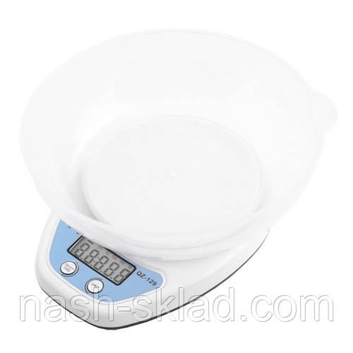 Весы кухонные c чашей на 5 кг (погрешность 1 г) Белые