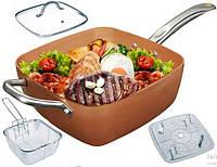 Сковорода фритюрница пароварка с антипригарным покрытием глубокая квадратная сковорода 8в1