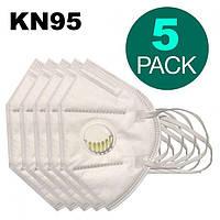 Респіратор захисна маска KN95 євро стандарт FFP2 З клапаном (медична), 5 штук, фото 1