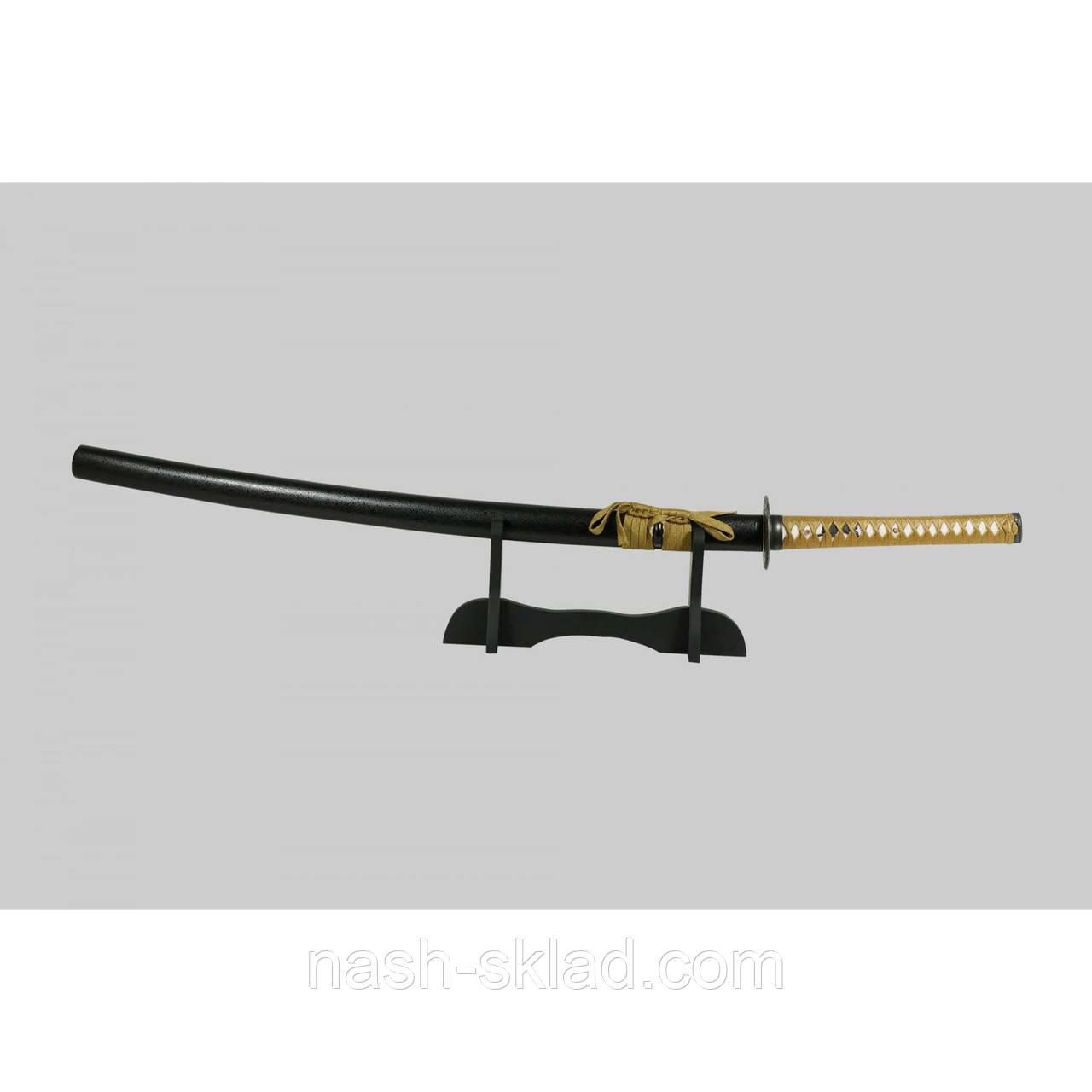 Самурайская катана сувенирная, черный клинок с дамасковыми узорами в деревянной коробке + чехол тканевый