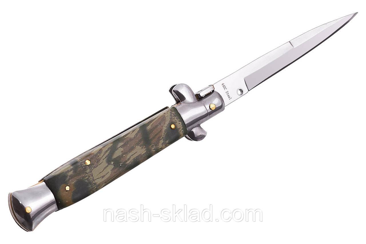 Выкидной нож камуфляжного стиля, лучший напарник любителям активного отдыха, туризма, рыбалки, охоты.