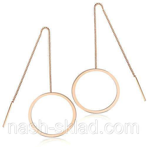 Круглые серьги-протяжки розовое золото