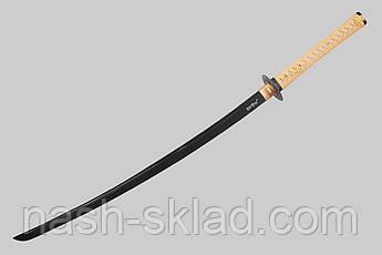 Самурайская катана с дамасковыми узорами сувенирная,с  черным клинком в деревянной коробке + чехол тканевый, фото 2