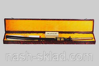 Самурайская катана с дамасковыми узорами сувенирная,с  черным клинком в деревянной коробке + чехол тканевый, фото 3