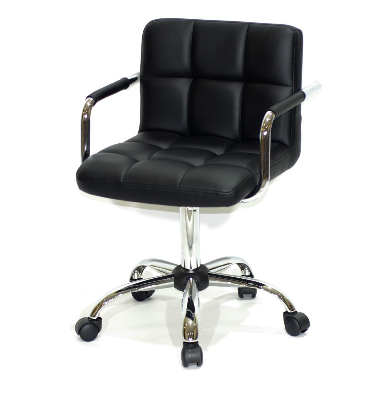 Черное кресло с подлокотниками офисное на колесиках из эко кожи с хромированным основанием ARNO ARM CH-OFFICE