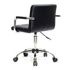 Черное кресло с подлокотниками офисное на колесиках из эко кожи с хромированным основанием ARNO ARM CH-OFFICE, фото 3