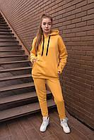 Утеплений спортивний костюм жіночий оверсайз гірчичний, фото 1