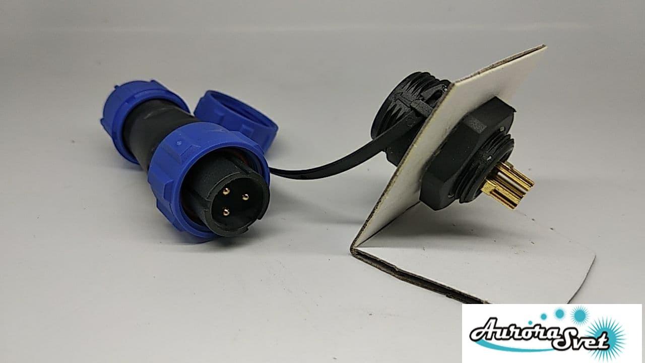 Роз'єм роз'єм кабелю герметичний ip68 вбудований в корпус md 13 2-х контактний.