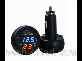 Вольтметр термометр цифровой автомобильный VST 706-1, фото 3