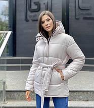 Женская куртка из красивой плащевой ткани под пояс  LL-066, фото 3