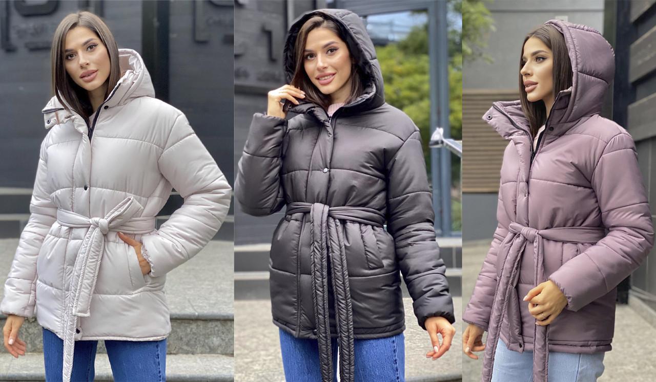 Женская куртка из красивой плащевой ткани под пояс  LL-066