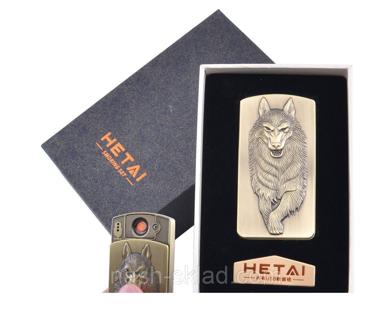 USB зажигалка в подарочной упаковке Волк (Cпираль накаливания)