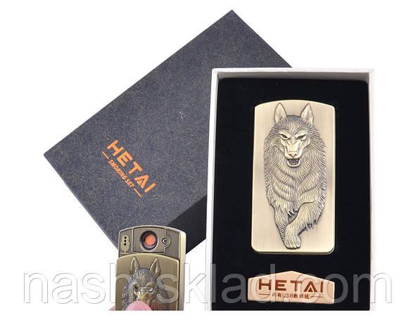 USB зажигалка в подарочной упаковке Волк (Cпираль накаливания), фото 2