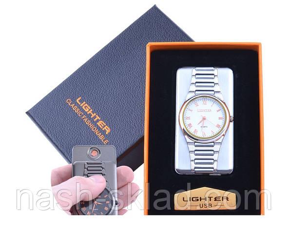 USB зажигалка с часами Белое золото в подарочной упаковке LIGHTER (Cпираль накаливания), фото 2