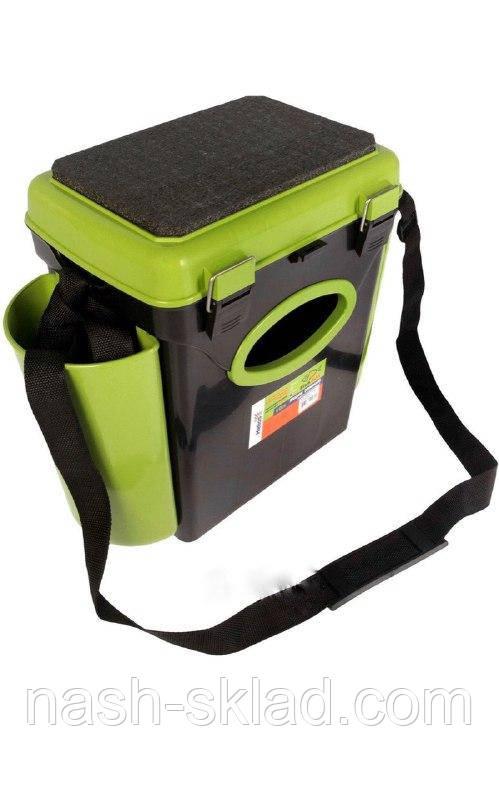 Ящик односекционный Fish Box Helios 10 л для зимней рыбалки зеленого/оранжевого цвета