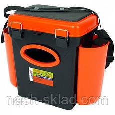 Ящик односекционный Fish Box Helios 10 л для зимней рыбалки зеленого/оранжевого цвета, фото 2