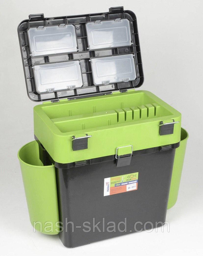 Ящик Fish Box Helios 19 л для зимней рыбалки Зеленый