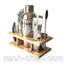 Подарочный набор бармена для приготовления коктейлей 350 мл. 9 предметов, фото 3