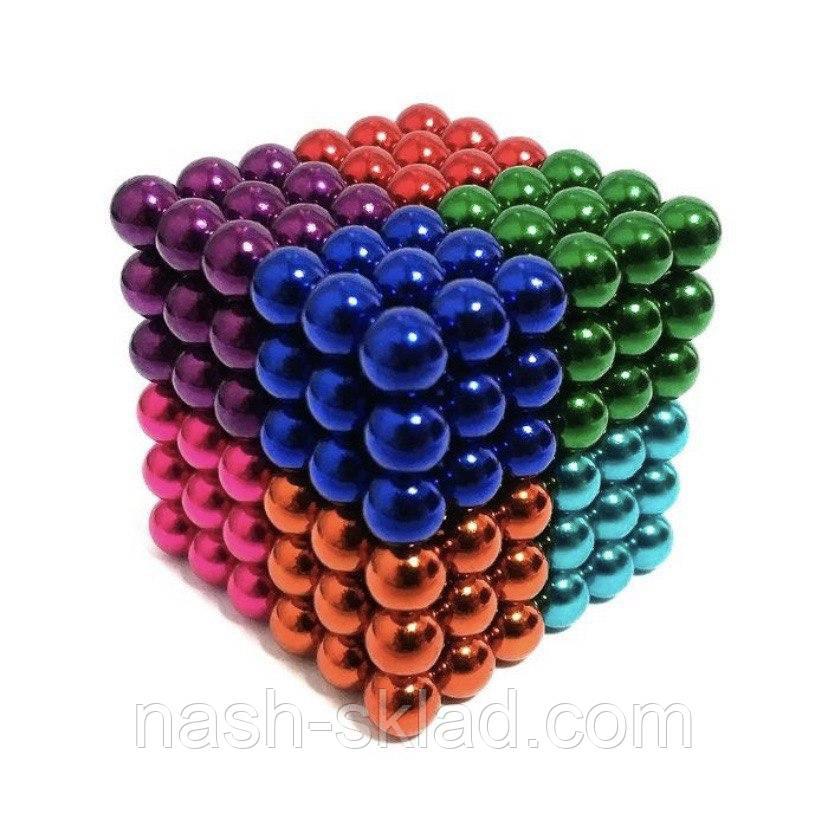 Магнитный конструктор головоломка цветной Неокуб 216 шариков