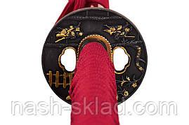 Японская катана потрясающий красный бархат - цвет процветания и мира эпохи ЭДО, фото 3