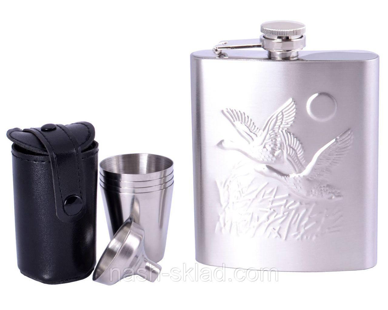 Подарочный набор с флягой для алкогольных напитков 200мл