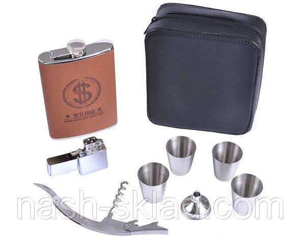 Подарочный набор с 9 предметов (фляга, 4 стопки, лейка, зажигалка бензиновая, открывалка в барсетке), фото 2