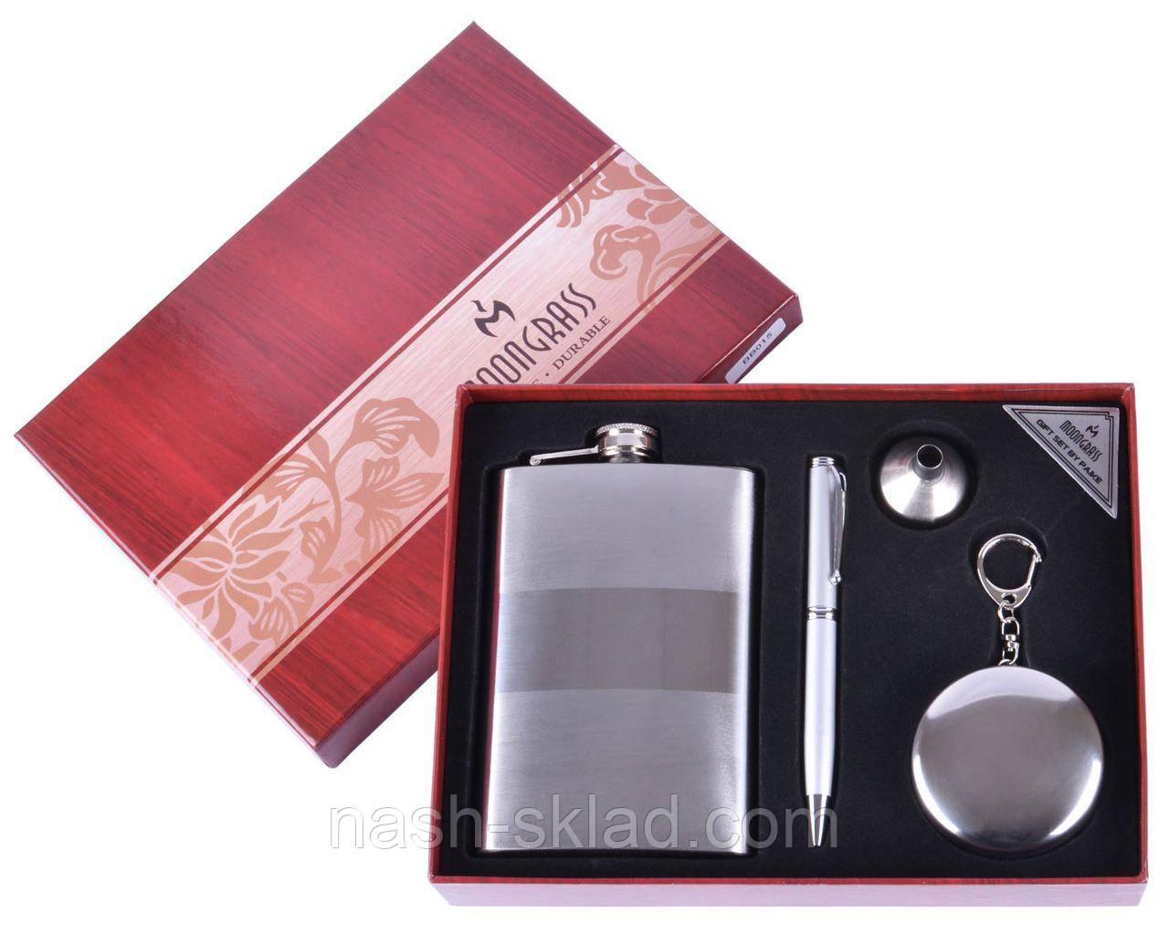 Подарочный набор Серебряная фляга + Ручка
