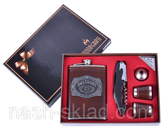 Подарочный набор Старинная Фляга Jack Daniels (Штопор-открывалка-нож, 2 рюмки, фляга), фото 2