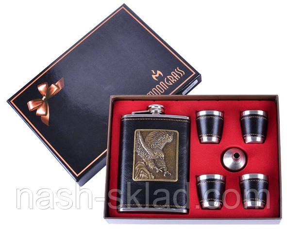Подарочный набор Фляга обтянутая кожей Черный Орел, фото 2