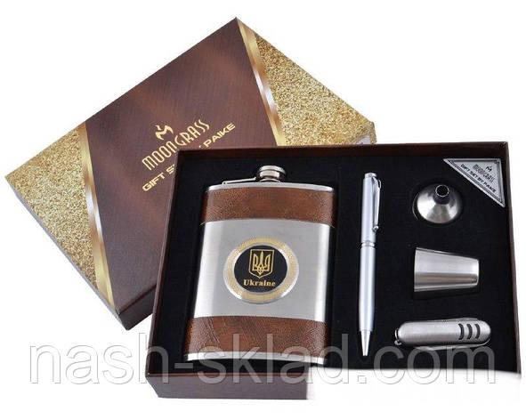 Подарочный набор Металлическая Фляга с Гербом Украины и кожаными вставками, фото 2