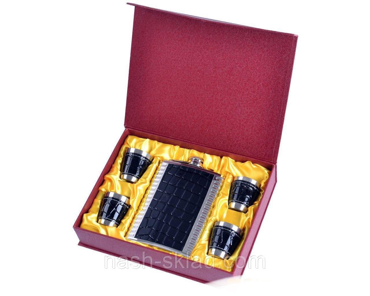 Подарочный набор Металлическая Фляга с кожаными вставками дизайна Черной Змеи