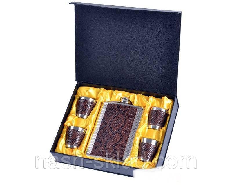 Подарочный набор Металлическая Фляга с кожаными вставками дизайна Змеи
